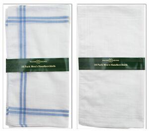 10 Pack Mens Hankies Handkerchiefs White Plain Or Borders Cotton Polyester