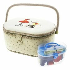 Vintage Sewing Basket Organizer Box Kit with Hand Sewing Supplies, Oval Shaped