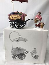Dept 56 Heritage Village Doolittle's Flower Cart w Umbrella & Flower Seller Box