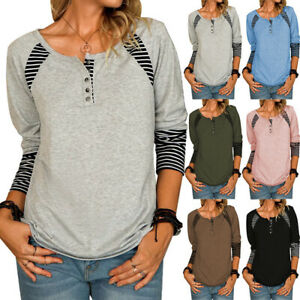Womens Tee Loose Ladies Blouse Shirts Striped Long Sleeve Autumn Tops Plus Sizes
