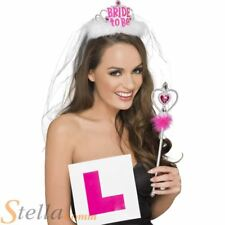 Ladies Hen Party Bride to Be Party Set Tiara & Veil L Plate Badge Wand Kit