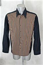 lujosa camisa marina de rayas HUGO BOSS NARANJA talla L EXCELENTE ESTADO