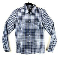 Tommy Hilfiger Men's/Boys Size S/P White Blue Long Sleeve Check Plaid Shirt