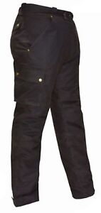 XTRON BLACK WAXED COTTON CE Tested ARMOURS Quilted Motorcycle Biker TROUSERS