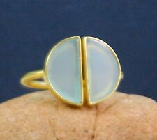 Solid 925 Sterling Silver Chalcedony Gemstone Gold Plated Girls Ring Size 5 US