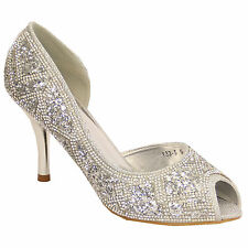 LADIES SILVER PEEP TOE WEDDING PARTY EVENING SHOES,MID HEEL SIZES 3-8 133-5