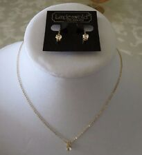 Lindenwold Cubic Zirc Vtge Stud Necklace w/ Matching Stud Clip-On Earrings Set