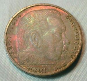 1939-A Germany Silver  5 Marks Old Envelope Underlying Toning KM#94 (Z309)