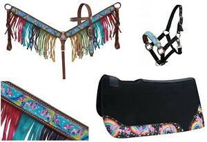 Western Pony Sz Horse Rainbow Pony Unicorn Bridle + Breast Collar Tack Set + Pad