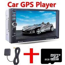 "7"" HD Double 2 Din Car MP5 Player Bluetooth Touch Screen Head Units GPS Sat Nav"