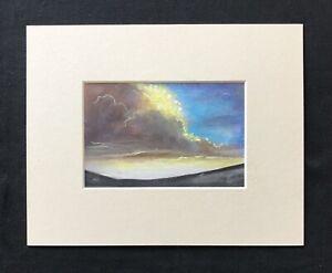 """The Clashing Skies original mounted pastel painting 10""""x8"""" G.Burgess Cornwall"""
