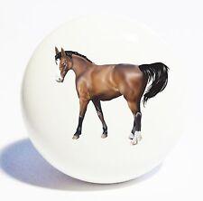 BROWN HORSE PONY HOME DECOR CERAMIC KNOB DRAWER CABINET PULL