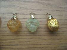 3 Vintage Old World Christmas Ornaments Mercury Blown Glass, Fruit & Nut