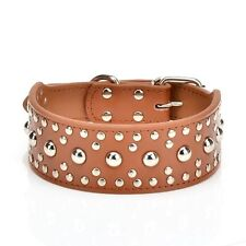 "Pet Kingdom Collar 18-24"" Leather Studded Large Dog Collar Brown, Large Size"