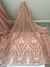 """PEACH 2WAY STRETCH MESH W/SEQUINS  EMBROIDERY FABRIC 50"""" WIDE 1 YARD"""