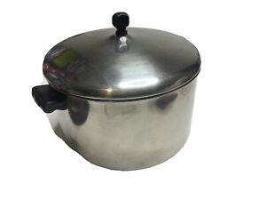 Farberware 8 QT Stock Pot Aluminum Clad Stainless Steel w/ Lid USA