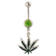 Cristallo verde di marijuana cannabis weed Belly Naval Bar - 316l in Acciaio Chirurgico