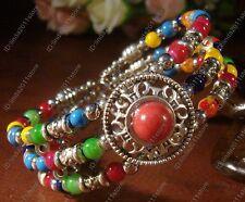 New Beautiful Tibetan silver jewelry  Colorful beaded bracelet bangle