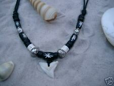 Lucky Shark Tooth Necklace Surf Surfer Beads / N188bvi