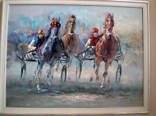 "HARNESS RACING - ORIGINAL LARGE OIL ON CANVAS - SIGNED ""ANELLIO"" ?"