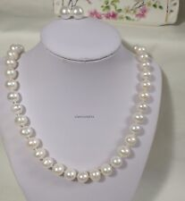 Genuine silver 10-11mm egg round freshwater pearl Necklace+earing L70cm
