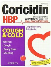 CORICIDIN HBP COUGH AND COLD RELIEVES COUGH RUNNY NOSE SNEEZING 16 TABLETS
