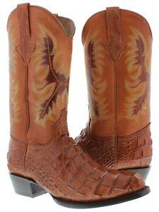 Mens Western Boots Cognac Alligator Back Print Cowboy Boots Round Toe
