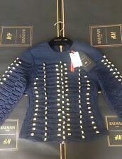 Balmain H&M Blue Gold Embroidered Braided Rope Top Shirt Blouse Euro 32 XS