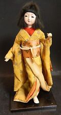 """Vintage Hand Made Japanese Woman In Kimono Doll 11"""" x 5.5"""" Porcelain Very Good"""