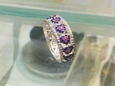 925 Sterling Silver Thumb Ring - Coloring Heart Shape Pink Blue CZ -  size 9 S