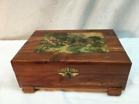 Vtg Cedar Wood Hope Treasure Jewelry Box Stash Lithograph country cottage
