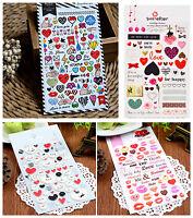 1 sheet Love Hearts eyes lip prints  smiling face Lover bike deco Diary Sticker