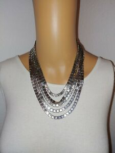 Jennifer Lopez Silver-Tone Necklace Signed 5 strand Layer Fashion