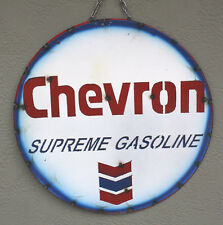 Metal CHEVRON GASOLINE Sign Gas Oil Garage Man Cave Home Decor Recycled