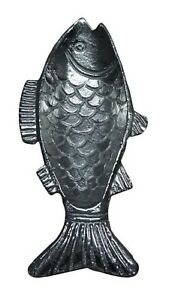 Fish Shaped Serving Dish Aluminum 9 Inches Embossed Details