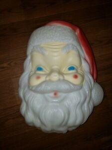 "Vtg Empire Blow Mold Santa Face Plastic Lighted Christmas 17"" 1968"