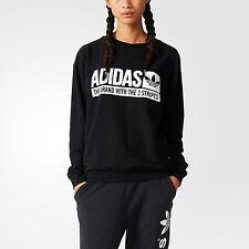 NWT Adidas Originals Women Light Sweatshirt Black Cotton Sweater AJ7697 SZ M