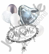 7 pc Mr. & Mrs. Balloon Bouquet Party Decoration Car Wedding Silver & White