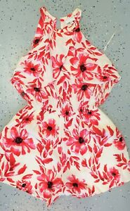 💜 WITCHERY Summer Romper Ivory Red Floral Size 8 Buy7=FreePost L777
