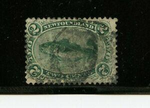 Newfoundland #24 (NE540) Codfish 2c green, perforated 12, used, FVF