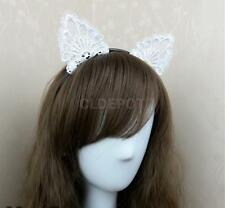 Fancy White Lace Bunny Cat Ears Headband Hairband for Party Costume Cosplay