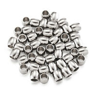 100pc 304 Stainless Steel Barrel Large Hole Beads Smooth Mini Metal Spacer 6x6mm