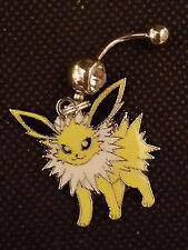 Pokemon Jolteon Pikachu's friend Belly Ring Navel Ring 14G Surgical Steel Dangle