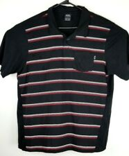 Oakley Mens Golf Rugby Polo 2XL Striped Black Red White Pocket Shirt