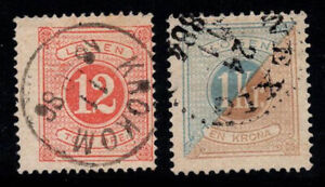 Sweden 1874 Mi. 5A, 10B Used 100% postage due Digits