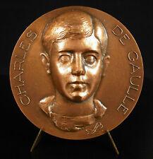 Médaille Charles De Gaulle enfant et sa maison natale Lucien LAFAYE 77 mm  294g