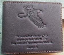 NEW MEN's Christian Wings Like Eagles GENUINE LEATHER Dark Brown Bi-fold WALLET