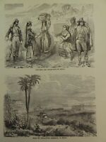 1860 COSTUMES Inhabitants SICILY ITALY Ruins Agrigento Large Engraving  Print
