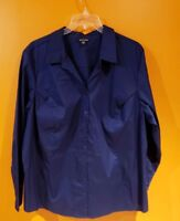 George woman's size 4X 26/28W Navy Blue long sleeve button blouse # A916