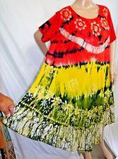 Jessica Taylor Femme Grande Taille 1x Asym Gypsy Cravate Teinture Robe Tunique